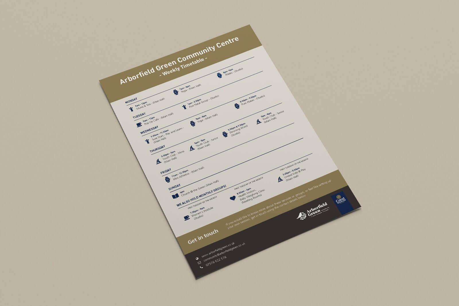 Arborfield Green - Community Centre timetable